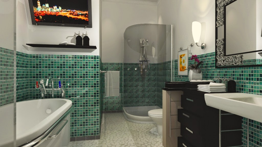 Large-Bathroom-Design-with-Mosaic-Wall